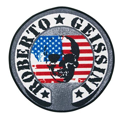 Getufteter Designer-Teppich American Skull Rund von Roberto Geissini, leicht zu reinigen und aus robustem Material, Farbe:Bunt, Größe:Ø 100 cm
