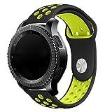 Elespoto 20MM Replacement Bracelet para Samsung Gear S2 Classic/Huawei Watch 2 Sport Version 20MM Huawei Watch 2 Motorola Moto 360 2nd Generacion 42mm for Men/Samsung Gear Sport (Black Yellow 1)