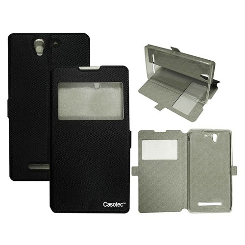 Casotec Premium Kickstand Caller-id Flip Case Cover with Snap Button Closure for Sony Xperia C3 - Black  available at amazon for Rs.225