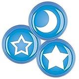 Möbelknopf Set 3er ECO136 1B Blau Classic Design Mond Stern Sterne Griff Knauf für Kinder Kinderzimmer Haushalt Büro Schrank Schublade Kommode