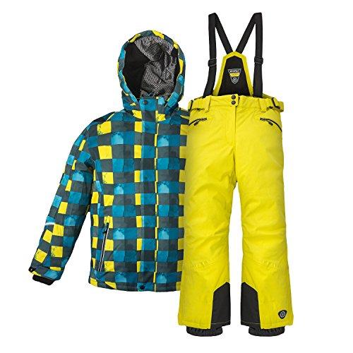 Kinderskianzug Skijacke Skihose für Mädchen & Jungen zur Farb- und Größenwahl (gelb, 176)