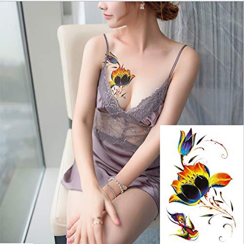 yyyDL Tattoo Aufkleber Blume Arm Tattoo Sticker Blume Tintenfisch Elefant Schmetterling Bronzing Laser Flash Pulver 2St