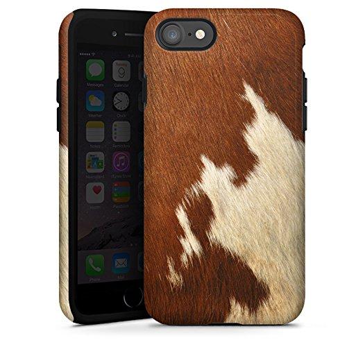 Apple iPhone 6s Plus Tasche Hülle Flip Case Kuhfell Look Tiere Braun Weiß Tough Case glänzend