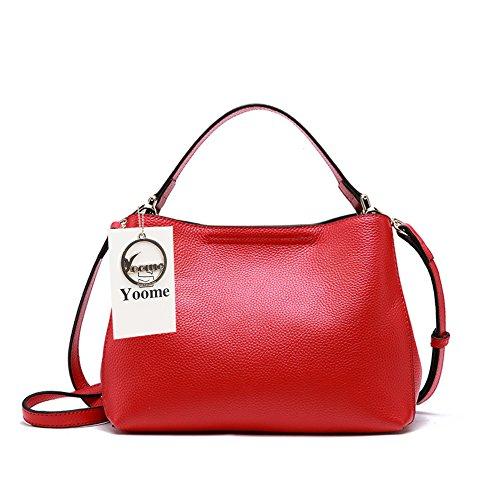 Yoome Echtes Leder Taschen für Frauen Geschmeidige Hobo Taschen Schultertasche Weichem Leder Abendtaschen - Rot (Hobo Kostüm Zubehör)