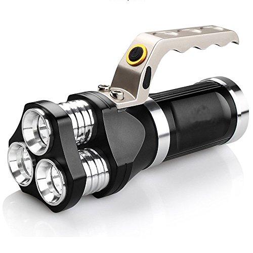LED Taktische Taschenlampe, Ulanda Wiederaufladbar Superhelle LED Taschenlampe Suchscheinwerfer 6000 Lumen, LED Camping Handlampe Fackel Licht, 3 Lichtmodi, Wasserdicht Taschenlampen für Campen