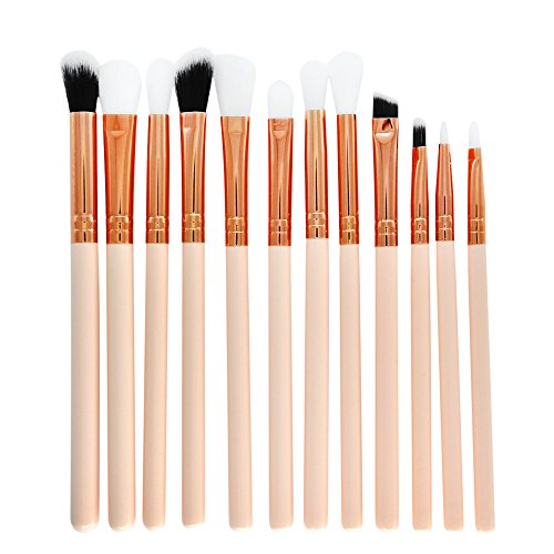 12-teiliges Make-up-Pinsel-Set professionelles Gesicht Lidschatten Eyeliner Liquid Foundation...