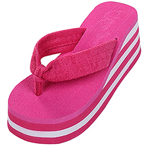 Azbro Women's Striped Wedge Heels Flip Flops Beach Sandals Fuchsia