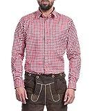 Tracht & Pracht - Herren Trachtenhemd Hemd Karo Rot - M