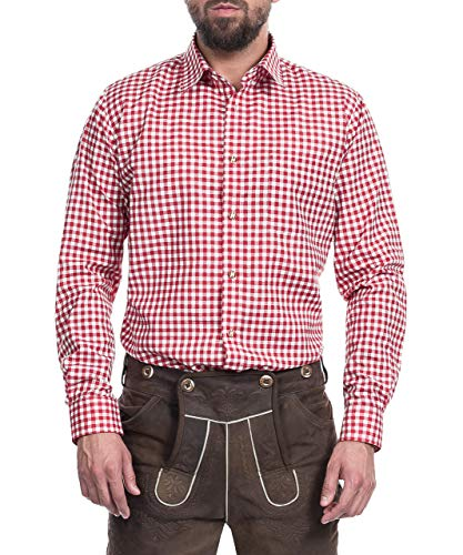 Tracht & Pracht - Herren Trachtenhemd Hemd Karo Rot - XXL