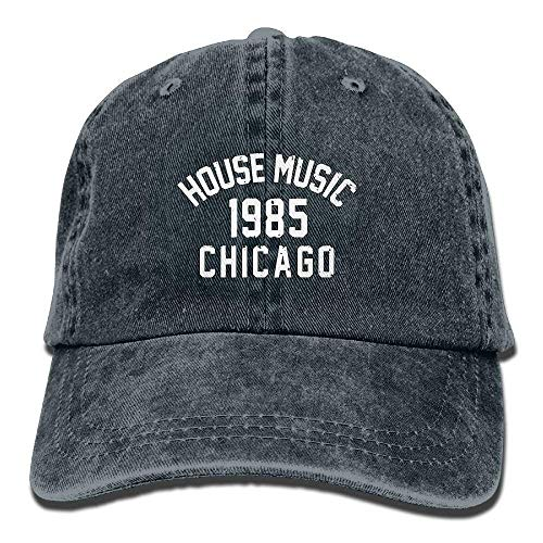 Zhgrong Caps House Music 1985 Vintage Washed Dyed Cotton Twill Low Profile Adjustable Baseball Cap Black Flexfit Cap