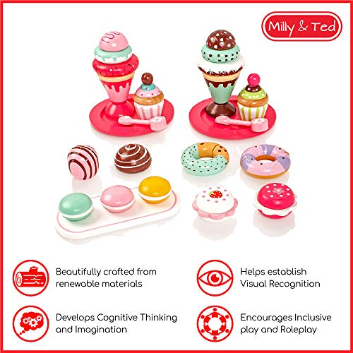 Milly & Ted Wooden Dessert Set With Cakes & Ice Creams - Childrens Wood Playfood Toy - Kids Pretend Play Food