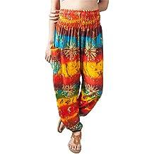 Lofbaz Harem Donna Elefante Smocked Waist Boho Pantaloni Yoga Pilates 5225fbddef98
