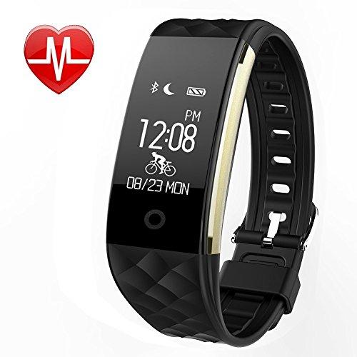 Preisvergleich Produktbild Fitness Tracker mit Pulsmesser , Pluvansay Fitness Armbänder mit Schrittzähler, Schlafmonitor Touchscreen und Kalorienzähler / Vibrationsalarm Anruf SMS Whatsapp Für Android / iOS Telefonkompatibel