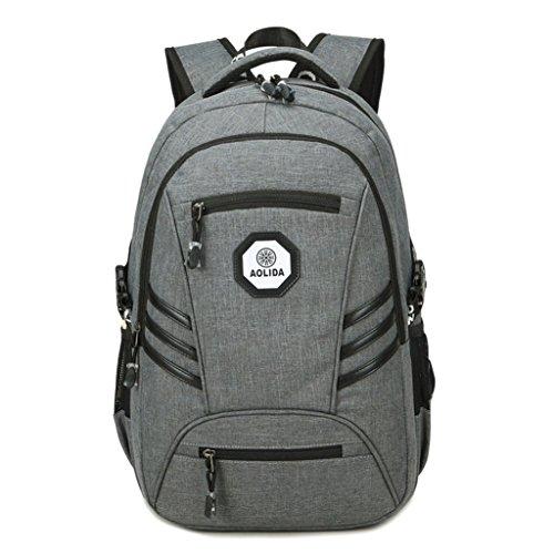 Yooabc Herren Business Water Resistant Laptop Rucksack, College Studenten Tasche mit USB-Ladeanschluss, passt bis zu 15,6 Zoll Laptop / Notebook Bag Grau