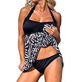 OVERDOSE Plus Size Frauen Push-up Schwimmen Kleid Damen Causal Tankini Sets Zweiteiler Badeanzug Bademode Bikini sets(A-Black,L)