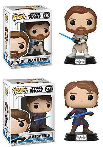 FunkoPOP Star Wars The Clone Wars: Obi Wan Kenobi + Anakin Skywalker – Stylized Vinyl Figure Bundle ()
