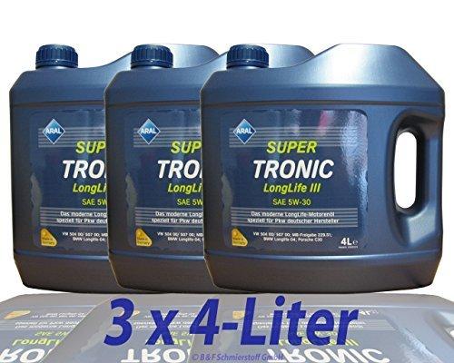 3x 4 L = 12 Liter Aral SuperTronic Longlife III 5W-30 Super Tronic Motorenöl Motoröl Motoren Motor...