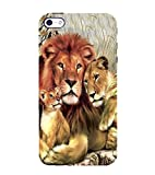 PrintVisa Perfect Lion Family 3D Hard Polycarbonate Designer Back Case Cover for Apple iPhone 5S