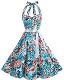 Bbonlinedress modèle 5 Vintage rétro 1950's Audrey Hepburn robe de soirée cocktail année 50 Rockabilly Blue Red Flower 4XL