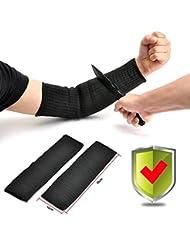 Yosoo Paire de manchettes de protection Kevlar anti-coupures combustion et abrasion Noir