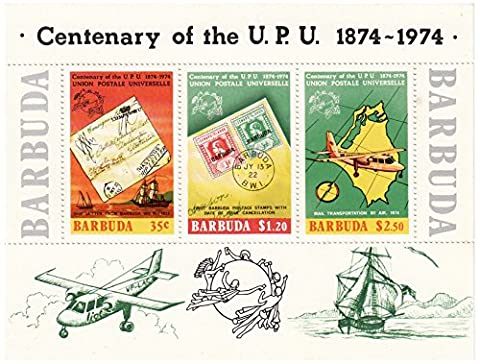 Miniature sheet from Barbuda commemorating the Centenary of the Universal Postal Union in 1974. There are 3 stamps, with a FV of $4.05. Mint never hinged