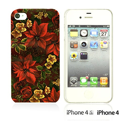 OBiDi - Flower Pattern Hardback Case / Housse pour Apple iPhone 4S / Apple iPhone 4 - Colorful Floral Art Paint Red Flower