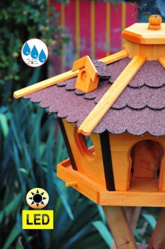 Vogelhaus Massivholz,Massiv-WETTERFEST, mit Ständer Standfuß und Silo,Futtersilo für Winterfütterung mit Beleuchtung,Licht-LED -Holz Nistkästen & Vogelhäuser- Futterhaus groß ROT mit Ständer rot BRL45roMS - 3