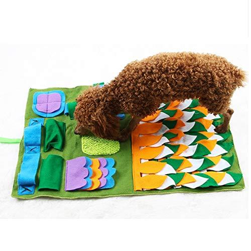 Plüschtier Hund Snuffle Mat, Hundefütterung Pad Weiche Nase Nase Arbeit Geruch Snuffle Mat Training Fütterung Futtersuche Fähigkeit Decke Hund Spielmatten Puzzle Spielzeug 45 x 75 cm - Grün Plüschtier -