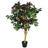 Leaf Hoja de 120 cm (4 pies) árbol de capensia Artificial Ficus Planta-Extra Grande, Verde