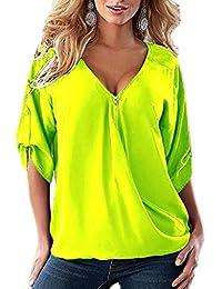 Smile YKK Women V Neck Half Sleeve Loose Zip Blouse T Shirt