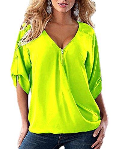 Bigood Femme T-shirt Chiffon Blouse V Col Mousseline Chemise Asymétrie Uni Vert Clair