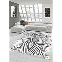 Merinos Alfombra Zebra Faux fur Zebra fur Alfombra de piel sintética Zebra look negro Größe 75x100 cm