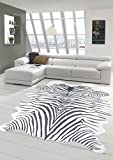 Merinos Zebrateppich Kunstfell Zebrafell Fellimitat Teppich Zebra Optik in Schwarz Größe 150x200 cm