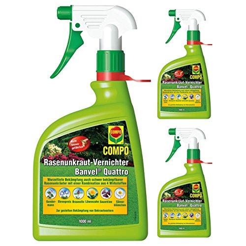 Gardopia Sparpaket: 3 x 1 Liter Compo Rasenunkraut-Vernichter Banvel Quattro Rasen Unkrautfrei AF anwendungsfertig Zeckenzange mit Lupe