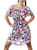 Diva-Jeans N851 Damen Kleid Kleider Cocktailkleid Sommerkleid Schulterfrei Trägerlos, Größen:Einheitsgröße, Farben:Korall