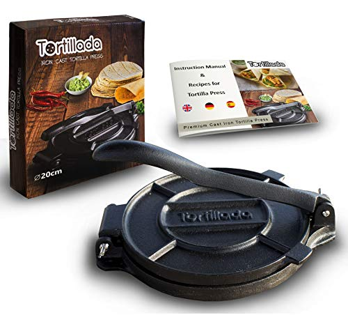 Tortillada - Premium Tortillapresse aus Gusseisen mit Rezepten (20cm) -