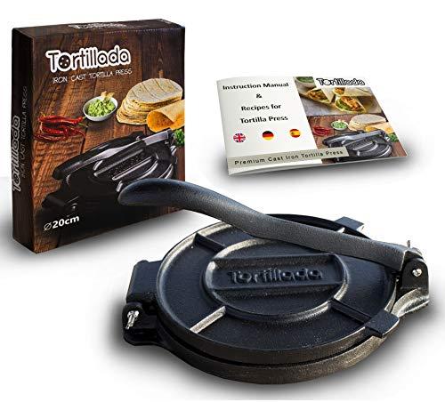 Tortillada - Premium Tortillapresse aus Gusseisen mit Rezepten (20cm) Cast Iron Tortilla