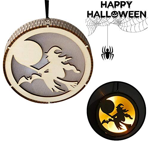 julyso Halloween Holz Hohl Anhänger LED Licht Hexe Fee Kürbis Mann Haunted House Black Cat Design Hängeplatte