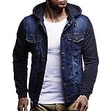 UFACE Herren Herbst und Winter Vintage Washed Denim Jacke Winter mit Kapuze Vintage Distressed Demin Jacke Tops Mantel Outwear(Blau,L)