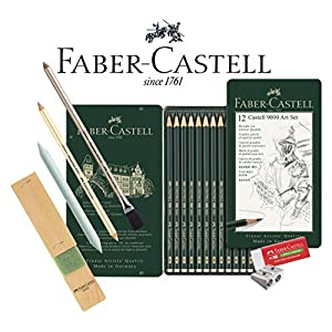 Faber-Castell 119065 - Bleistift Castell 9000, 12er Art Set, Inhalt 8B - 2H (Graphit-Kunst-Set, Grundsortiment 8b - 2h)