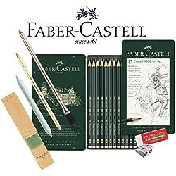 Faber-Castell 119065–Lápiz Castell 9000, 12lápices de, Volumen 8B–2H, Grundsortiment 8b - 2h, Graphit-Kunst-Set