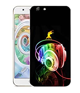 Snoogg Colorful Headset Designer Protective Back Case Cover For OPPO F1S