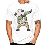 Fuibo Homme T-Shirt Coton 3D Creative à Manches Courtes Panda au trésor National Chinois Imprimé Graphique Occasionnel Top Tees (XL, Blanc)