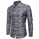 Hemden Herren LUCKYCAT 2018 Neu Fashion Trend Langarm Herrenhemd Camouflage Bügelfreie Hemden Slim Fit Hemden Modern (Grau, XXL)