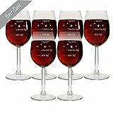 4you Design Set 6 Stück Weingläser Motiv Guter Tag, Schlechter Tag, Frag Nicht! Rotweinglas/Weißweinglas Geburtstagsgeschenk - Stimmungsglas - Geschenkidee