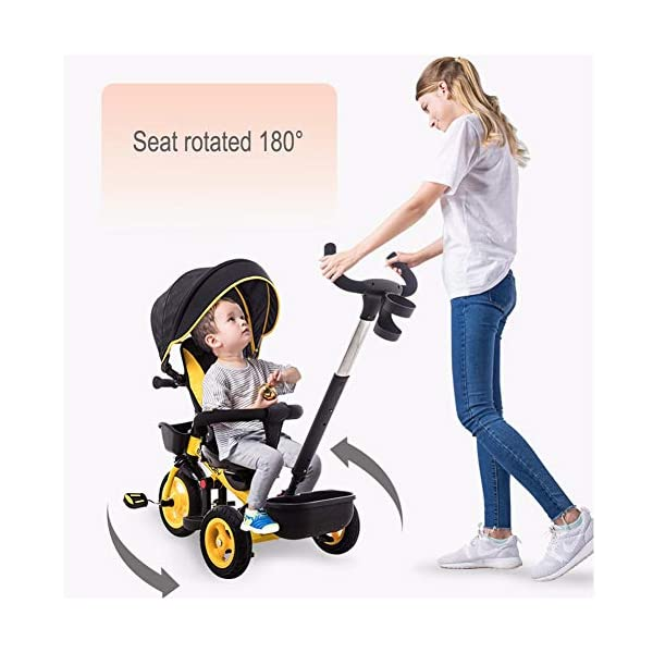 GSDZSY - Luxury 4 IN 1 Children Tricycle, Comfortable Adjustable Seat For The Baby To Sit Or Lie Flat, Removable Push Handle Bar,With Safety Fence,1-6 Years Old GSDZSY ❀ Material: High carbon steel + ABS + rubber wheel, suitable for children from 6 months to 6 years old, maximum load 30 kg ❀ Features: The push rod can adjust the height and control direction, the seat can rotate 360; the baby can lie flat, adjustable umbrella, suitable for different weather conditions ❀ Performance: high carbon steel frame, strong and strong bearing capacity; non-inflatable rubber wheel, suitable for all kinds of road conditions, good shock absorption, seat with breathable fabric, baby ride more comfortable 3