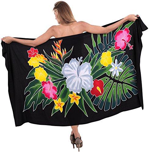 Hibiskus-bikini-top (LA LEELA glatt Rayon Hibiskus Farnblattes Bikini Vertuschungsarong 78x43 Zoll schwarz)