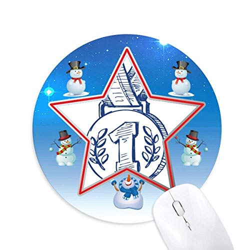 Blue Football Championship Medal Snowman Mouse Pad Round Star Mat