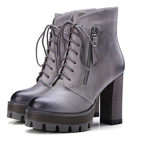 COOLCEPT Damen Mode-Even Schnürung Plateau Martin Stiefel Mit Reißverschluss Grau