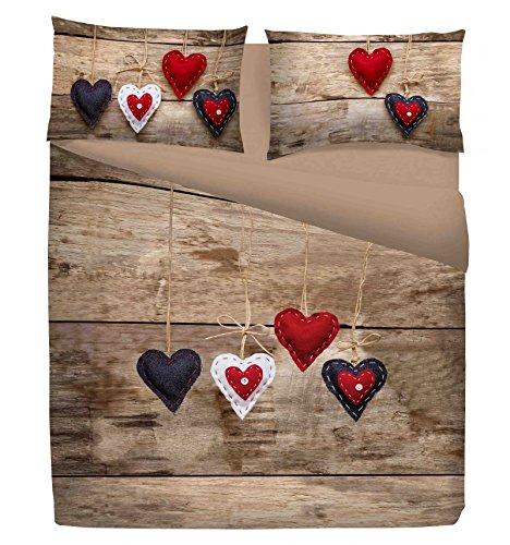 Funda nórdica Fantasy Shabby Chic Corazón Rojo–matrimonio 2plazas cm. 250x 200